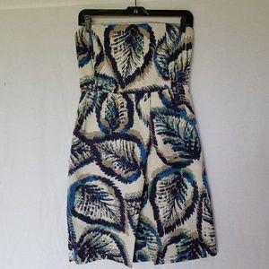Banana Republic Tropical Strapless Silk Dress